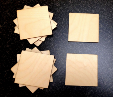 Wooden Square Coasters Table Mats 100mm Pack of 10